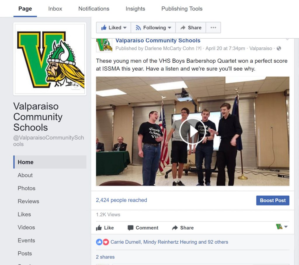 Valparaiso Community Schools Facebook Post